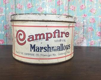 Vintage Campfire marshmallow tin * large * 5 lb * kitchen tin * round * decor * farmhouse *