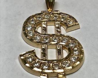 10 K Yellow Gold Simulated Diamond Three Dimensional Money Sign