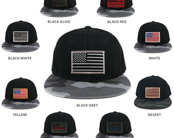 USA American Flag Embroidered Iron on Patch Camo Bill Snapback Cap - URB (356-URB)