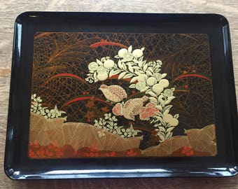 Mid Century Otagiri Tray. Black with Gold Birds.  Made in Japan