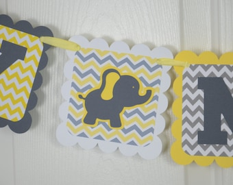 Elephant Baby Banner, Baby sign, Baby shower sign, Yellow and Grey Banner, Elephant Theme, Boy Elephant
