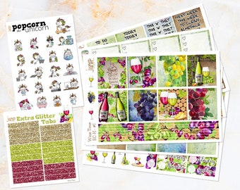Wine set / kit weekly stickers - Erin Condren HORIZONTAL Planner - grapes cheese fall autumn wood