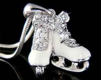 Swarovski Crystal Girls Ice Skating Hockey Shoes figure Skates Pendant Chain Necklace Christmas Gift New