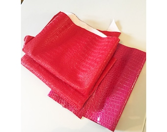 Red & Pink Dragon Scales Vinyl Fabric