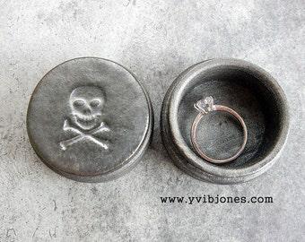Skull Crossbones Ring Box Steampunk Wedding Valentines Day Goth Silver Jewelry Keepsake Mens Womens Unisex Pirate Ceramic Wooden Wood Box