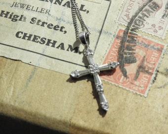 "Sparkly crucifix pendant necklace - 925 - sterling silver - 1.3"" pendant - 16"" necklace - j"