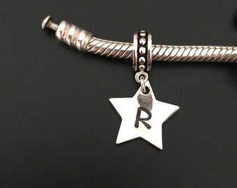 Personalised star charm. Sterling Silver initial charm. Personalised pandora charm. European Bracelet charm. Star charm. Personalised charm