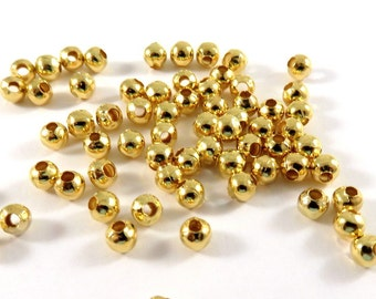 100 Gold Spacer Beads 4mm Round Plated Iron 1.6mm hole - 100 pc - M7058-G100
