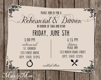 Rehearsal Dinner Invitation, Wedding Rehearsal Invitation, Rehearsal and Dinner Invite, Printable, Digital