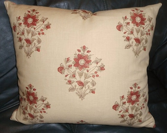 Schumacher throw pillow printed linen fabric Beatrice Bouquet floral design ONE