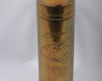 Large Vintage Brass Umbrella Stand, Antique, Decor, Horse Head, Relief, Vertical Handle, Cylindrical, Pouring Vessel ~ 170401