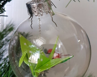 Crane origami clear ornament green polka dots large size