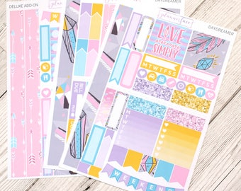 Daydreamer | Mini Planner Sticker Kit, Personal Kit, TN Stickers, Geometric, Neon, Feathers, Gemstone, Jewel, Arrows, Tribal Pattern