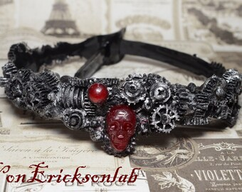 Steampunk  Gear Choker - Antiqued Dark Silver  Steel Tone - Cyberpunk Jewelry