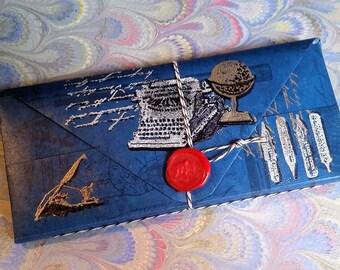 Booklover's Paper Wallet - Vintage writing Theme, 14 pockets Folder Organizer