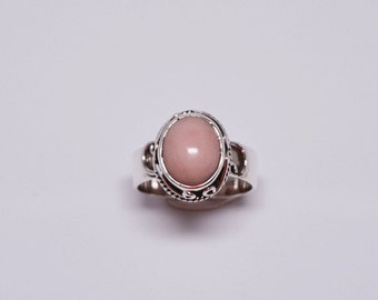 Pink Opal Ring - bohemian ring - Sterling Silver