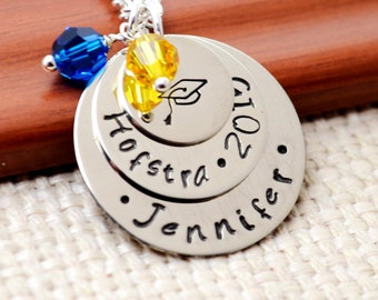 Personalized Graduation Necklace Class of 2018, Hand Stamped Gift for Graduation, Graduation Cap Necklace, Hand Stamped Jewelry