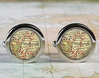 Pittsburgh PA cuff links, Pittsburgh map cufflinks wedding gift anniversary gift for groom groomsmen gift for best man Father's Day gift