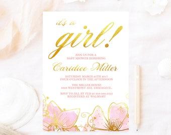 Floral baby shower invitation, pink flower baby shower invitation, watercolor baby shower invitation, elegant baby shower invitation, boho
