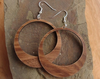 Sustainable Wooden Hook Earrings - Hoops - Sustainably Harvested Walnut Wood Dangle Earrings
