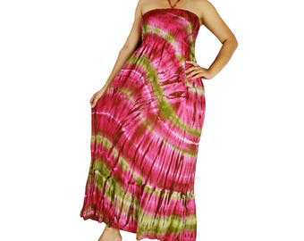 Smocked tie dye off shoulder dress tie dye cotton  boho smock tube dress maxi summer sundress comfy beach casual dress long skirt (426)