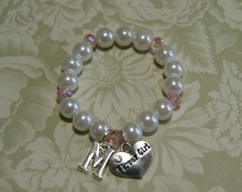 Personalized Flower Girl Bracelet with Initial - Choose Your Crystal Color -IB- Pearl Bracelet  -- Initial Bracelet -- Flowergirl Gift