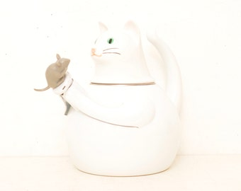 Vintage 80's Copco White Cat and Mouse Tea Kettle Enameled Metal Kitten; FREE SHIPPING U.S.A.