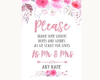 Pink Watercolour Floral Share Your Wishes Personalised Wedding Sign