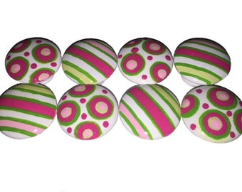 8 Custom Girls Pink Stripe Hand Painted Drawer Pulls Knobs
