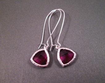 Long Drop Earrings, Amethyst Purple Acrylic Faceted Bezels, Silver Dangle Earrings, FREE Shipping U.S.