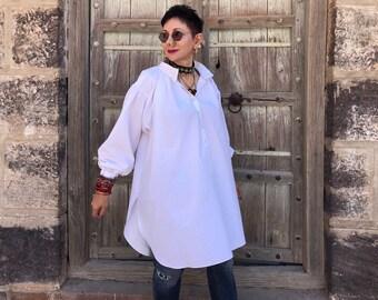 Great big white shirt , white cotton shirt , oversized shirt , white cotton smock , artists smock , poets smock , pure cotton clothes ,
