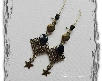 Earrings retro earrings, enameled sequin, bronze and black, stylish, trendy