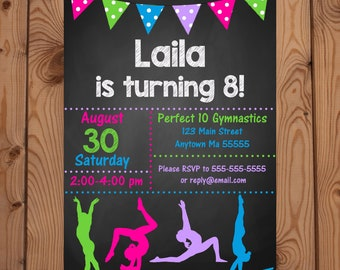 Gymnastics Party Invitation, Gymnastics Party Invite, Gymnastics Invitation, Gymnastics Invite, Tumbling Party Invite, Gymnastics Birthday