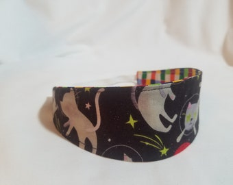 Outer Space Cats - Rainbow Checked Reversible Cloth Headband