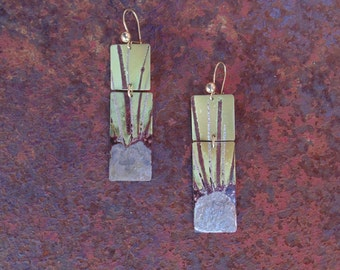 Brass earrings, colored fire
