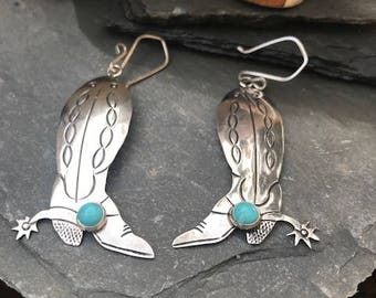 Vintage Sterling Silver and Turquoise Cowboy Boot Earrings