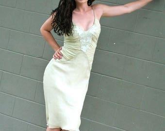 20% OFF SALE 90's Vintage Silk Dess, Soft Green Dress, Bias Cut Dress