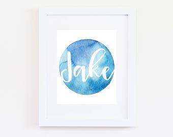 Personalised Name Print | Blue Watercolour Dot | Custom Name | Boy Name Print | Boys Room Wall Art | Nursery Art | New Baby Boy | Gift
