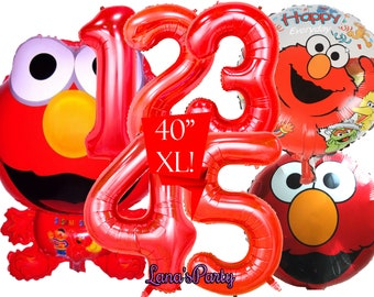 """30"""" 44"""" Premium Number Elmo Sesame Street Foil Party Red Channel letter happy birthday  Balloon balloon latex 1 2 3 4 5 0"""