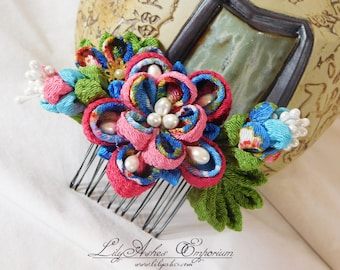 Tsumami Kanzashi Double Sakura Hair Comb Pink Blue Pearl with Leaves and Buds