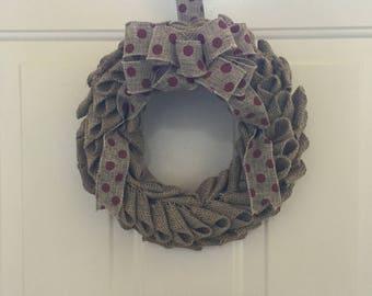 Swedis Burlap Wreath W/Polka Dot Ribbon