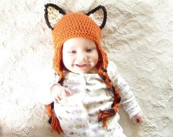 Crochet Fox Hat CROCHET PATTERN Crochet Earflap Hat Pattern Crochet Ear Flap Hat Baby Earflap Hat Animal Ear Flap Hat Baby Ear Flap Hat