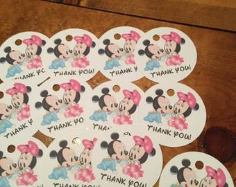 12 Baby Mickey and Minnie Mouse Party Favor Thank You Tags (can be personalized)
