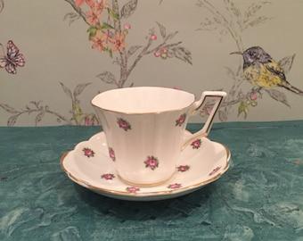 Regency Bone China Pink Flower Teacup, Rose Bud Fine China Teacup, Cup and Saucer