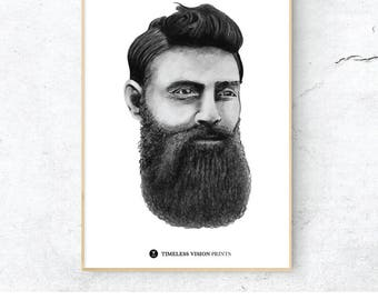 Ned Kelly Digital Print, A4 A3 Charcoal Illustration Print, Australian Bush Ranger Poster