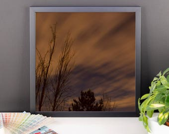 Moving Clouds at Night - Framed poster (multiple sizes)