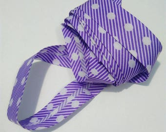 Fabric polyester satin purple and white stripe and polka dots