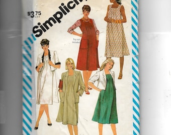 Simplicity Maternity Dress or Jumper and Boxy Unlined Jacket In Two Lengths In Misses' Sizes Pattern 6252