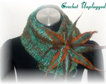 Ready-to-ship Verdigris scarflette neck warmer.