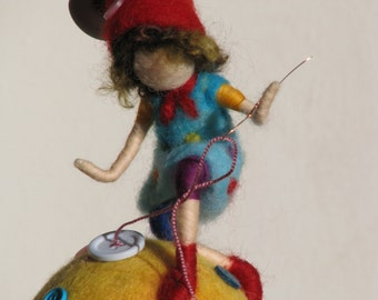 Waldorf inspired Needle felted nursery mobile Hme decor  - the thief of buttons